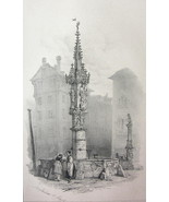 SWITZERLAND Fountain at Basel -  1838 Fine Quality Litho Print - $21.60