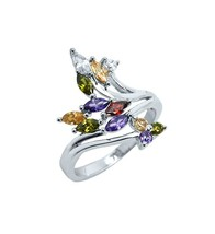 Dainty Marquise+Round 5A Cubic Zirconia Water-Color Knuckle Ring-Rhodium... - $29.99
