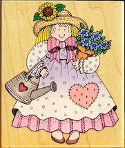 """Garden Gal 3 3/4"""" Wood Mounted Rubber Stamp 1996 by Hero Arts H1023 - $9.89"""