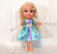 Disney Frozen Elsa Doll 13 inch Moving Arm Leg wearing Dress Blonde Hair - $14.82