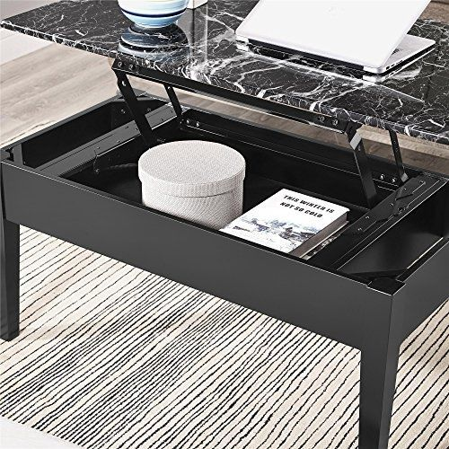Coffee Table Dorel Living Room Faux Marble Lift Top Storage Square Center Black