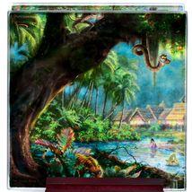 Thomas Kinkade The Jungle Book Prints 4 Piece Fused Glass Coaster Set w Holder image 4