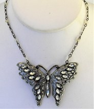 """Large Clear Crystal Butterfly Necklace Beaded Choker Adjustable 14"""" to 17"""" - $12.98"""