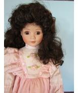 "Fine porcelain 18"" dynasty doll brown hair pink dress w/box ""virginia"" - $31.19"