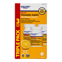 Equate Low Dose Chewable Orange Flavor Aspirin 81mg, Triple Pack (36ct e... - $11.88