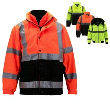 Men's Class 3 Safety High Visibility Water Resistant Reflective Neon Work Jacket image 1