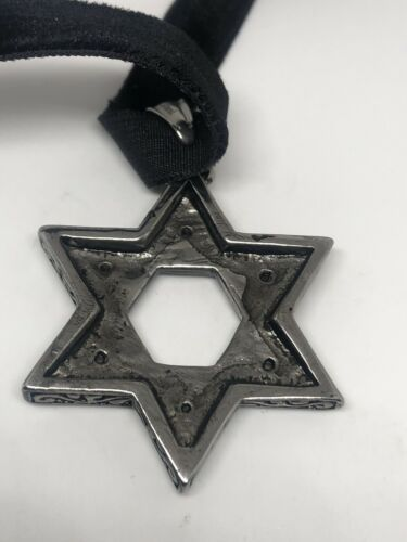 Vintage Deco Star Of David Pendant Choker Necklace Stainless Steel image 8