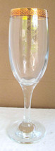 Champagne Flute PASABAHCE Circle of Art Of Glass Turkey Gold Rim- Made I... - $13.99