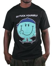 In4mation Fu$k Yourself Flipping Middle Finger Skateboard Men's Black T-Shirt NW