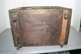 "Vintage Wood Metal Brass Tone Wheel Rolling Storage Chest 18.5""x14""x12.5"" Box image 8"