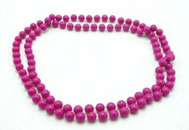 Dark Pink Purple Acrylic Long Bead Beaded Necklace Vintage - $9.90