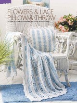 W005 Crochet PATTERN ONLY Flowers & Lace Pillow & Throw Patterns + Bonus! - $9.50