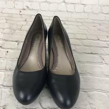 Women's Easy Spirit Esneoma  Heels  Leather Sz 6 1/2 Navy Blue Leather Upper EUC - $20.69