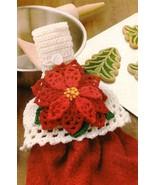 X135 Crochet PATTERN ONLY Christmas Poinsettia Towel Topper Pattern - $12.50