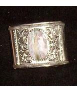 "Silver Cuff Bracelet w Agate 2"" Wide Medieval Elegance 102 - $44.89"