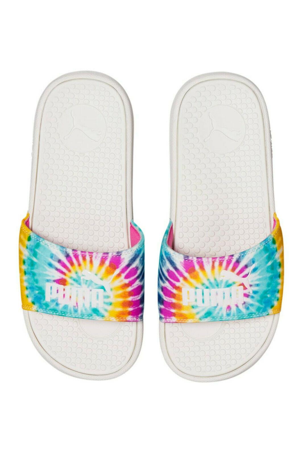 PUMA Women's 38079301 Slide Sandal White Pink Yellow Size 7 - $24.74