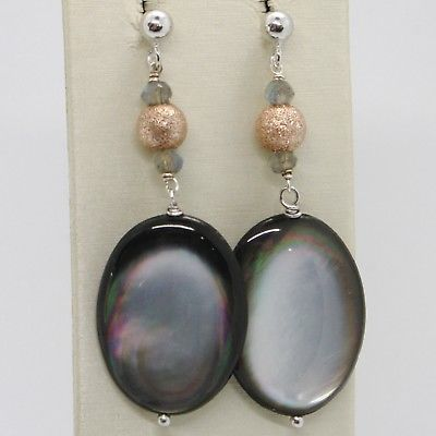 925 STERLING SILVER PENDANT EARRINGS, BIG GRAY - BLACK MOTHER OF PEARL OVALS
