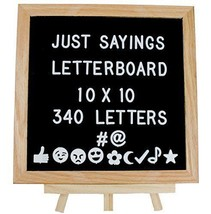 Felt Letter Board Set, 10x10 Oak Frame, Wooden Stand, 340 Changeable Let... - £19.97 GBP