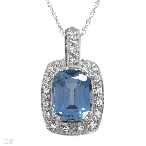 TANZANITE & DIAMOND 10K WHITE  GOLD CREATED  NECKLACE