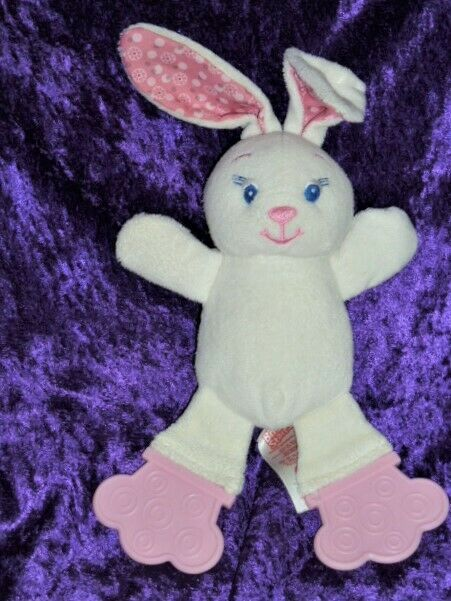 "Primary image for BRIGHT STARTS bunny plush white pink teether feet pink dot ears 10""H"