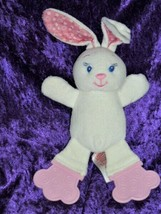 "BRIGHT STARTS bunny plush white pink teether feet pink dot ears 10""H   - $49.49"