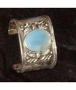 "Silver Cuff Bracelet w Agate 2"" Wide Medieval Elegance  101 - $44.89"