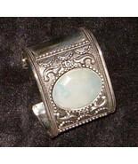 "Silver Cuff Bracelet w Agate 2"" Wide Medieval Elegance  107 - $44.89"