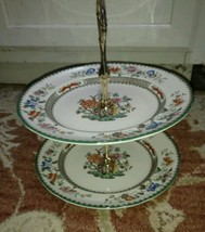 "Spode Chinese Rose 2 Tier Tidbit tray Server w/ 8 7/8"" plates - $100.98"