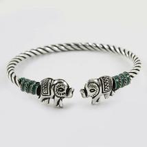 92.5 Sterling Silver Thai Enamel Elephant Flexible Kada Fine Jewelry Fre... - $56.93