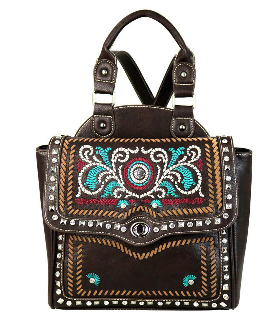 Western Embroidered Concho Backpack Purse Montana West Coffee Brown