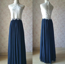 Halter Lace Navy Chiffon Skirt Long Cheap Bridesmaid Dresses Online image 1