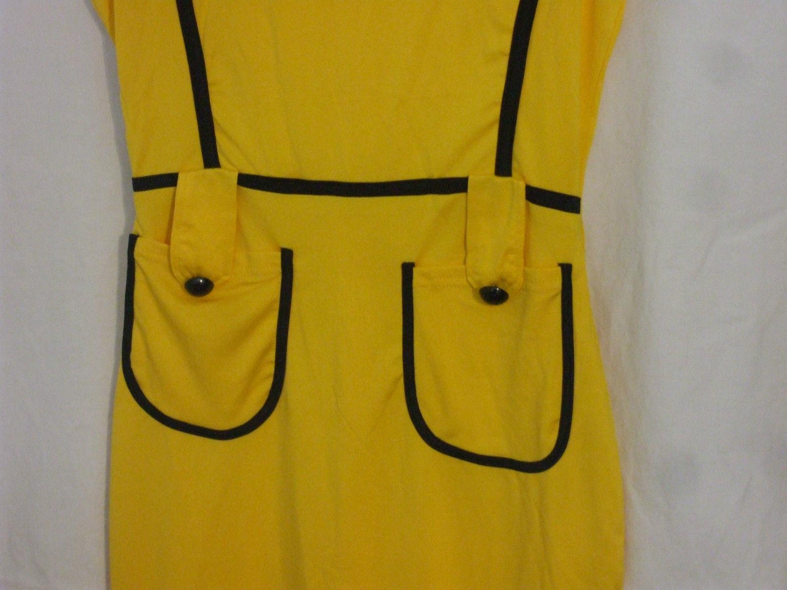 Fashion Mia Short Sleeve Yellow Dress Size Small 100% Polyester