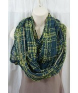 Echo Design Infinity Loop Green Plaid Viscose Blend Weave Cowl Scarf  - $14.27