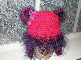 BABY GIRL HOT PINK WITH PURPLE EYELASH TRIM PHOTO PROP HAT - $13.73