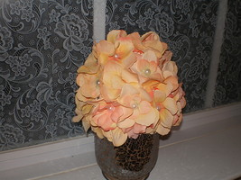 BABY GIRL PEACH COLORED FLOWER PHOTO PROP HAT - $20.00