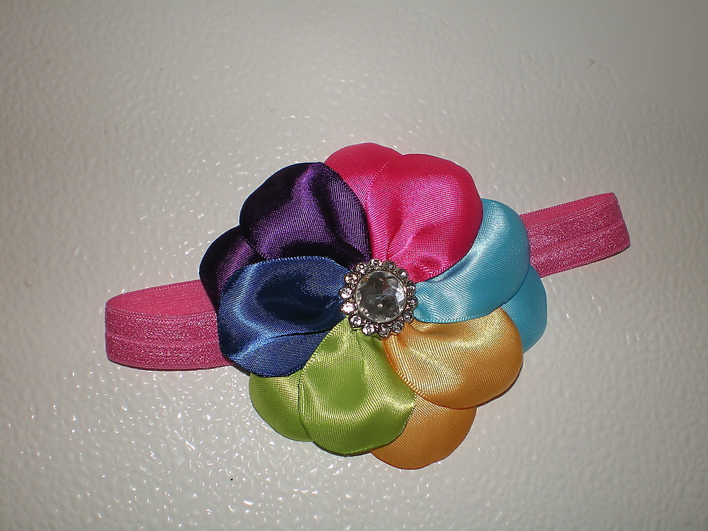 BABY GIRL TO ADULT HEADBAND WITH A RAINBOW OF COLORS PHOTO PROP