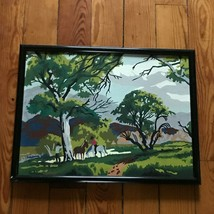 Vintage Arts & Crafts Paint by Number Two Horses Cowboys Plein Air Paint... - $28.62