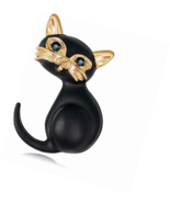 Black Cat Enamel Lapel Pin Animal  and Pins for Women  Corsages Scarf Clip - $14.06