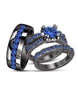Sapphire Trio Set 14K Black Gold Finish Mens Ladies Engagement Ring Wedd... - $164.98