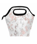 ALAZA Marble Rose Gold Texture Lunch Box Tote Handbag Lunch Bag Insulate... - $17.06