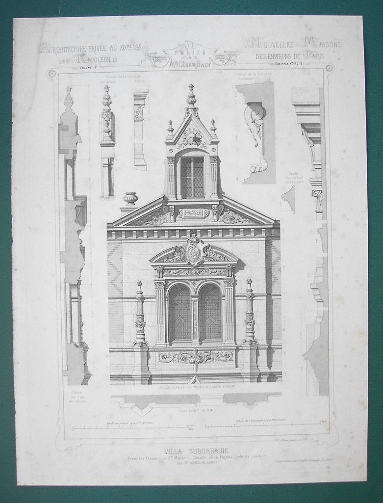 ARCHITECTURE PRINT : PARIS Victorian Mansion at St. Maur Partial Garden Facade