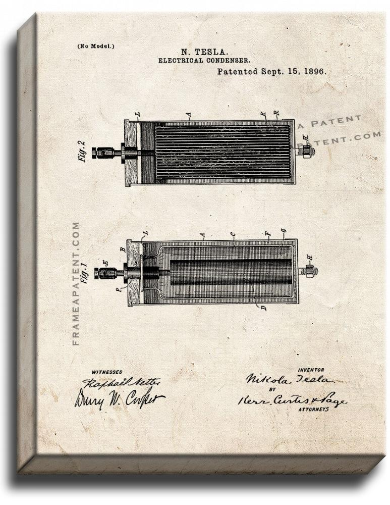 Primary image for Tesla Electrical Condenser Patent Print Old Look on Canvas