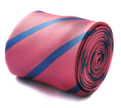 Pink with Blue Club Stripe Mens Tie by Frederick Thomas FT657