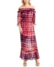 Jessica Simpson Maxi Dress Pink Tie Dye Off The Shoulder Empire Womens S... - $78.71