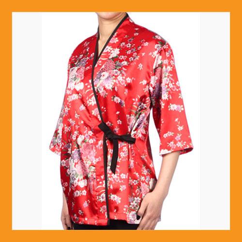 red kimono chef coat Japanese catering uniform jacket sushi restaurant 4 size - $23.50