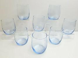 "8 Anchor Hocking VTG 3 5/8"" Blue Misty Optic Swirl Retro Glass Drinkware... - $53.13"