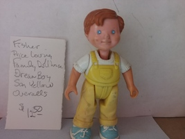 Fisher Price Loving Family Dollhouse Dream Boy Son Yellow Overalls 1993 - $12.50