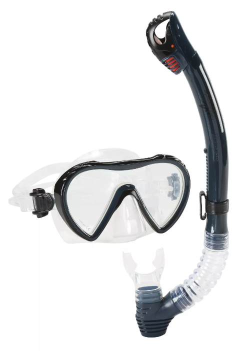 Speedo Adult Expedition Midnight Dk Navy Snorkel Mask Set Combo NEW