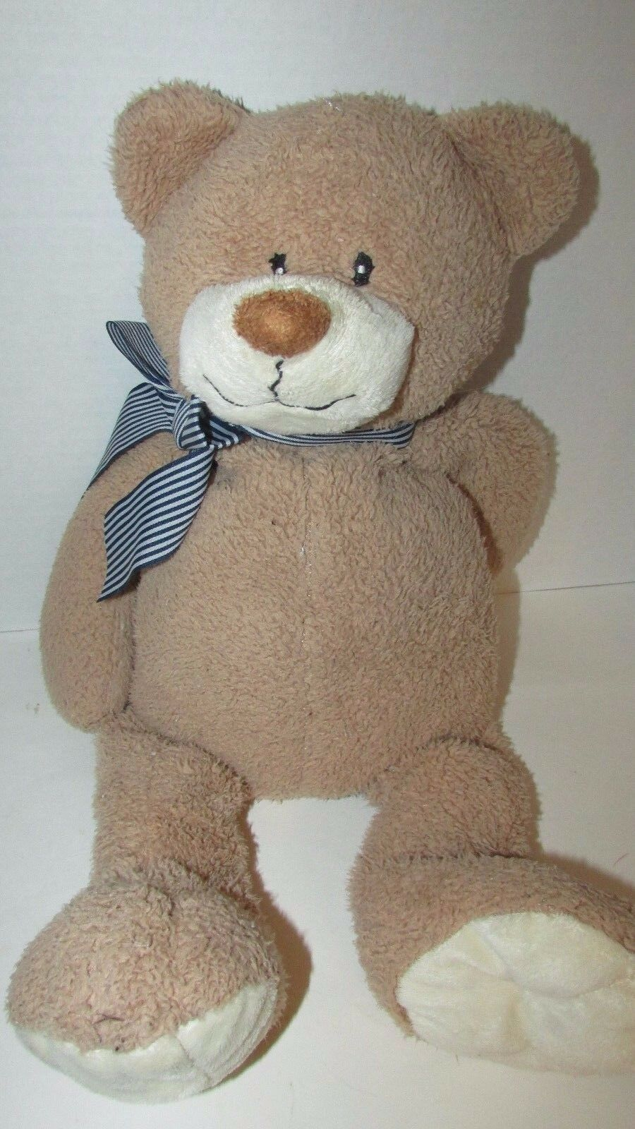 "Primary image for Animal Adventure Teddy Bear Tan Blue Striped Bow 2010 Plush USED 21"" Target"