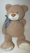 "Animal Adventure Teddy Bear Tan Blue Striped Bow 2010 Plush USED 21"" Target - $6.92"